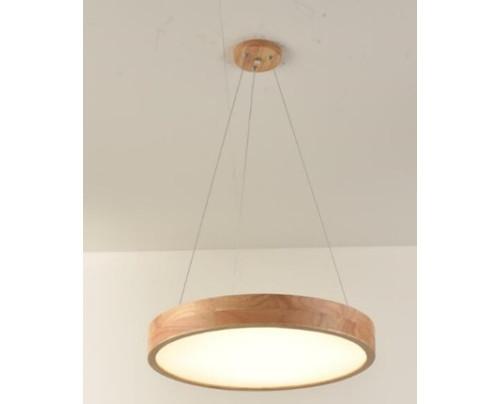 Dřevěné kulaté svítidlo na lankách  - φ400*45 - Teplá bílá