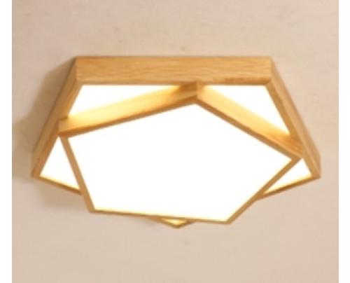 Dřevěné pětiúhelníkové stropní svítidlo φ350*80