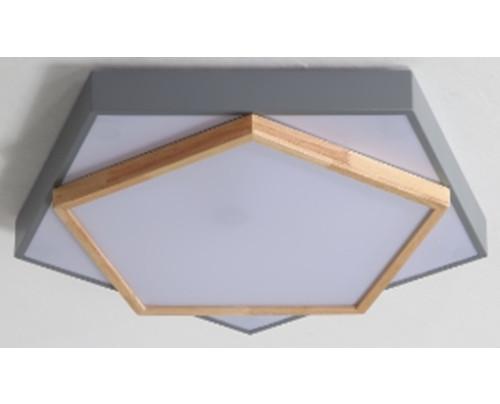 Dřevěné pětiúhelníkové stropní svítidlo - šedé φ350*80