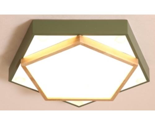 Dřevěné pětiúhelníkové stropní svítidlo - khaki φ550*80
