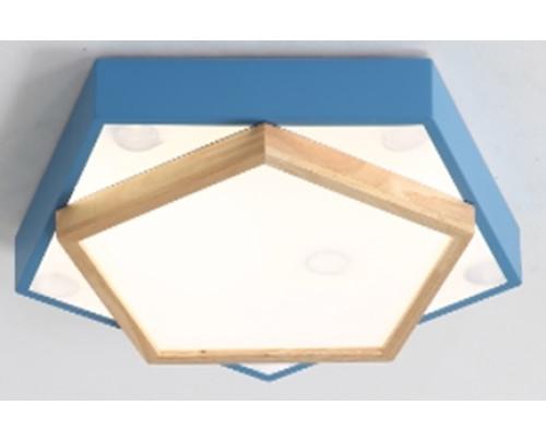 Dřevěné pětiúhelníkové stropní svítidlo - modré φ450*80