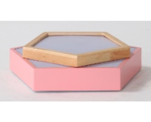 Dřevěné pětiúhelníkové stropní svítidlo - růžové φ650*80