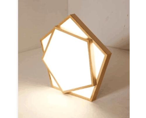 Dřevěné pětiúhelníkové stropní svítidlo č.2 φ450*80