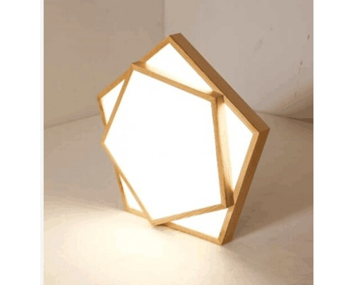 Dřevěné pětiúhelníkové stropní svítidlo č.2 φ550*80