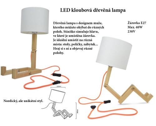 LED kloubová dřevěná lampa
